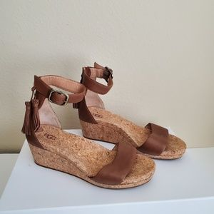 Ugg Zoe Leather Cork Wedge Ankle Strap Sandal